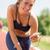 gyönyörű · karcsú · nő · súlyzók · zenét · hallgat · testmozgás - stock fotó © milanmarkovic78