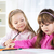 kettő · aranyos · kislány · kislányok · rajz · színes - stock fotó © MilanMarkovic78