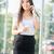 jonge · vrouw · mobiele · telefoon · lopen · business · gebouw · mobiele · telefoon - stockfoto © milanmarkovic78