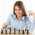 jovem · empresária · jogar · xadrez · negócio · moda - foto stock © milanmarkovic78