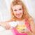 portre · gülen · genç · kadın · süt · çanak - stok fotoğraf © milanmarkovic78