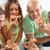 znajomych · jedzenie · pizza · cztery · wraz - zdjęcia stock © MilanMarkovic78