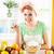 mulher · salada · de · frutas · branco · foco - foto stock © milanmarkovic78