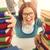 portre · çılgın · öğrenci · kız · gözlük · kitaplar - stok fotoğraf © milanmarkovic78