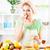 mulher · jovem · comer · laranjas · belo · fruto · de · laranja · salada - foto stock © MilanMarkovic78