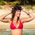 vakantie · strand · vrouw · gelukkig · leuk · snorkelen - stockfoto © milanmarkovic78