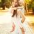 moeder · dochter · gelukkig · Geel · regenjas · kind - stockfoto © milanmarkovic78