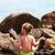 jóga · tengerpart · kislány · kövek · gyerekek · tenger - stock fotó © MilanMarkovic78