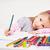 幸せ · 女の子 · 図面 · 鉛筆 · ホーム · 赤ちゃん - ストックフォト © milanmarkovic78