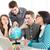diákok · tanul · négy · gyönyörű · földrajz · földgömb - stock fotó © MilanMarkovic78