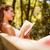 schöne · Frau · Lesung · Buch · Wald · Natur · glücklich - stock foto © milanmarkovic78