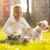nina · cachorro · nube · Inglés · crema · labrador · retriever - foto stock © milanmarkovic78