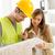 építkezés · építész · kettő · fiatal · megbeszél · tervek - stock fotó © MilanMarkovic78