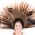 mooie · brunette · vrouw · haardroger · portret · meisje - stockfoto © milanmarkovic78