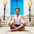 meditáció · jóga · férfi · meditál · kint · tenger - stock fotó © monkey_business