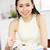 genç · Çin · kadın · yeme · makarna · akşam · yemeği - stok fotoğraf © monkey_business
