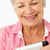 senior · mulher · telefone · móvel · sessão · sofá · sorrir - foto stock © monkey_business