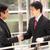 dwa · biznesmenów · posiedzenia · biuro · lobby · mówić - zdjęcia stock © monkey_business