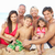 portrait of three generation family on beach holiday stock photo © monkey_business