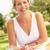 vrouw · genieten · salade · tuin · home · drinken - stockfoto © monkey_business