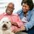 gelukkig · vergadering · sofa · hond · vrouw - stockfoto © monkey_business