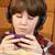 мальчика · прослушивании · mp3-плеер · еды · завтрак · стекла - Сток-фото © monkey_business