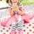 roze · gestreept · meisje · portret · asian · sneeuwvlokken - stockfoto © monkey_business