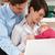 родителей · ребенка · рабочих · домой · используя · ноутбук - Сток-фото © monkey_business
