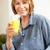 enthousiast · vrouw · drinken · sinaasappelsap · keuken · home - stockfoto © monkey_business