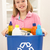 girl holding recyling waste bin at home stock photo © monkey_business