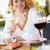 pizza · fehérbor · szabadtér · étterem · fókusz · üveg - stock fotó © monkey_business