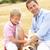 отцом · сына · сидят · собака · соломы · семьи · человека - Сток-фото © monkey_business
