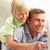 baba · oğul · dizüstü · bilgisayar · kullanıyorsanız · rahatlatıcı · hamak · mutlu · bilgisayar - stok fotoğraf © monkey_business