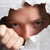 молодым · человеком · глядя · дыра · рваной · бумаги · человека · фон - Сток-фото © monkey_business