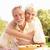 idős · pár · élvezi · étel · kert · nő · boldog - stock fotó © monkey_business