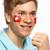 小さな · 男性 · スポーツ · ファン · フラグ · 描いた - ストックフォト © monkey_business