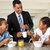 father having breakfast with children before work stock photo © monkey_business