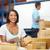 werknemers · magazijn · goederen · man · vrouwen · technologie - stockfoto © monkey_business