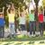 grupo · sorridente · adolescentes · saltando · ar · felicidade - foto stock © monkey_business