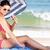 woman sheltering from sun under beach umbrella putting on sun cr stock photo © monkey_business