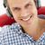 człowiek · słuchawki · włosy · portret · czerwony · osoby - zdjęcia stock © monkey_business