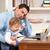 homem · bebê · trabalhando · casa · usando · laptop · computador - foto stock © monkey_business