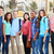 group of teenage pupils with teacher outside classroom stock photo © monkey_business