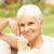 senior · mulher · relaxante · jardim · banco · azul - foto stock © monkey_business