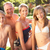 young family relaxing by pool in garden stock photo © monkey_business
