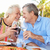 senior couple enjoying meal in outdoor restaurant stock photo © monkey_business