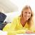 donna · utilizzando · il · computer · portatile · rilassante · seduta · divano · home - foto d'archivio © monkey_business