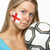 sad young female football fan with st georges flag painted on fa stock photo © monkey_business