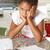 meisje · huiswerk · keuken · kind · schrijven · leren - stockfoto © monkey_business