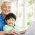 chinese · grootvader · kleinzoon · vergadering · bureau · met · behulp · van · laptop - stockfoto © monkey_business